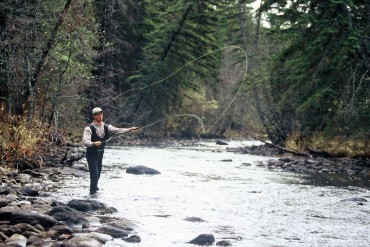 Classic river fly fishing while on vacation at Siwash Lake Wilderness Resort