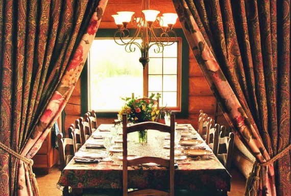 Indoor fine dining in the main Ranch House at Siwash Lake Wilderness Resort