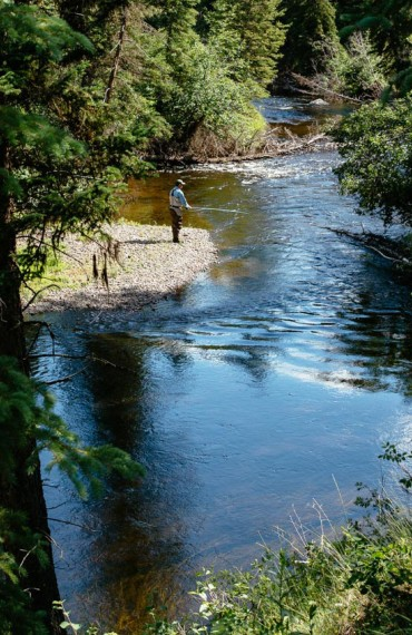 Classic river fly fishing at Siwash Lake Wilderness Resort