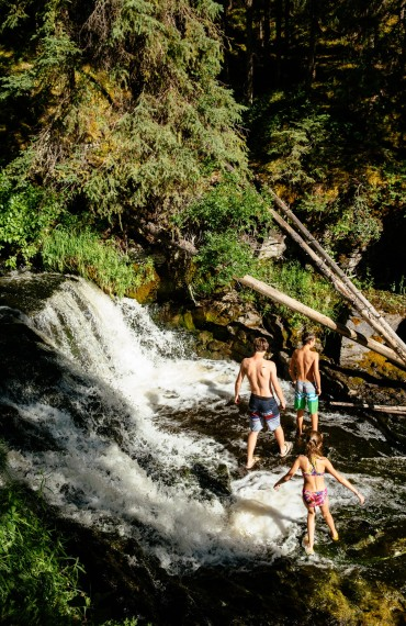 Exploring the waterfalls at Siwash Lake Wilderness Resort